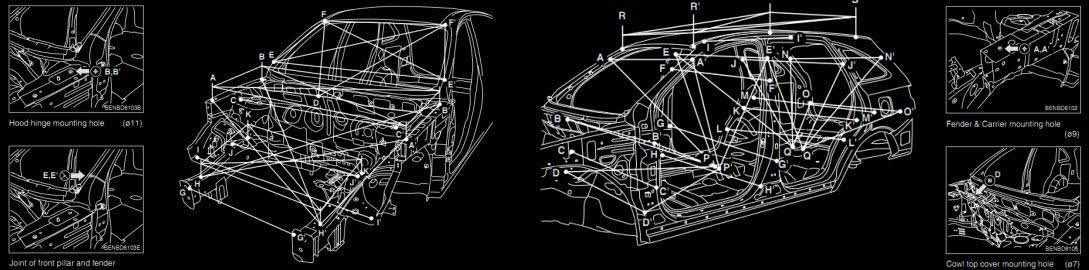 Скачать контрольные точки кузова audi размеры кузова Ауди  Скачать контрольные точки кузова audi размеры кузова Ауди инструкции по кузовным работам audi