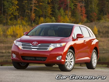 Размеры кузова Toyota Venza (AGV10,15 GGV10,15) 2009–2016 Collision Repair Manual