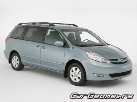 Кузовные размеры Toyota Sienna 2004–2010 (MCL2#) Collision Repair Manual