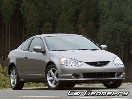 Размеры кузова Acura RSX, Honda Integra (DC5) 2002–2006 Body Repair Manual