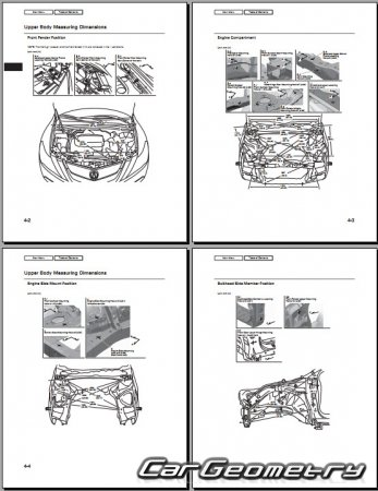 Размеры кузова Acura ZDX 2010–2017 Body Repair Manual