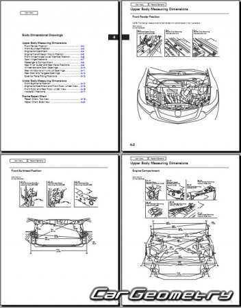 Кузовные размеры Acura TSX (Honda Accord EURO) 2010-2013 Sedan and Sport Wagon Body Repair Manual