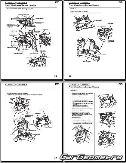 кузовные размеры Honda Fit Honda Jazz 2002 2008 Body Repair Manual