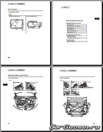контрольные размеры кузова Honda Fit Honda Jazz 2009 2013 Body