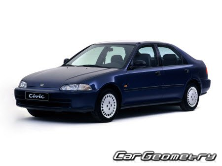 Геометрические размеры Honda Civic 1992-1995 (Sedan, Coupe, Hatchback) Body Repair Manual