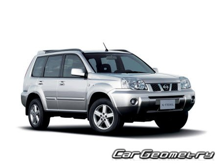 Размеры кузова Nissan X-Trail (T30) 2001–2007 Body Repair Manual