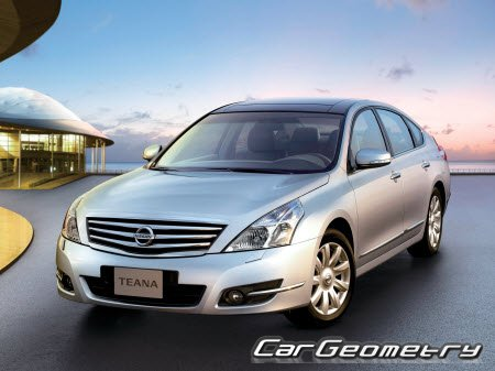 Кузовные размеры Nissan Teana (J32) 2008–2012 Body Repair Manual