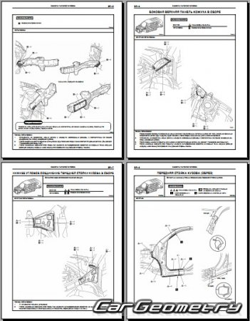 Кузовные размеры Toyota Highlander (Kluger) 2007-2012 (GSU40, GSU45) Collision shop manual