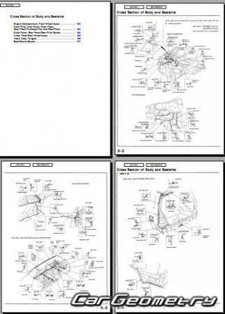 Размеры Honda Odyssey 1995-1998 Body Repair Manual