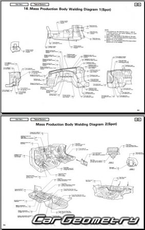 Кузовные размеры Honda Integra (Acura Integra) 1990-1993 (Sedan, Coupe) Body Repair Manual
