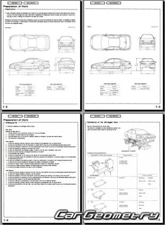 Контрольные размеры кузова Honda Integra (Acura Integra) 1994-2001 (Sedan, Coupe) Body Repair Manual