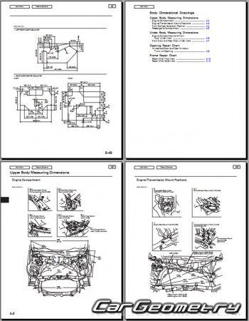 Геометрические размеры Honda Civic 2006-2011 (Sedan, Coupe USA) Body Repair Manual