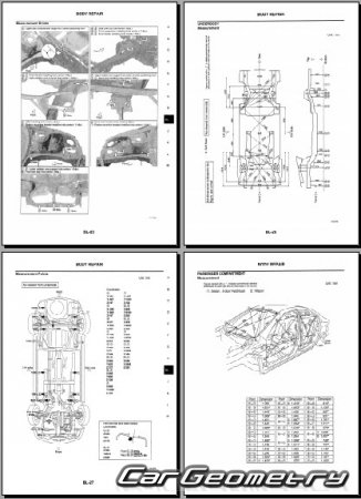Размеры кузова Nissan Primera (P12) 2002–2008 Body Repair Manual