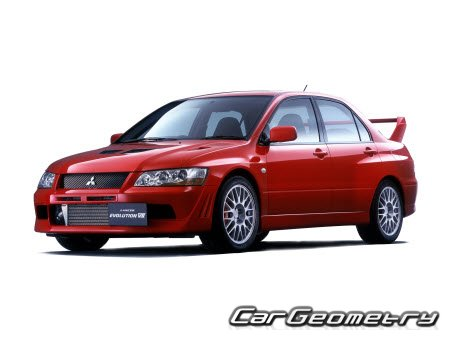 Размеры кузова Mitsubishi Lancer Evolution VII 2001-2003 Body Repair Manual