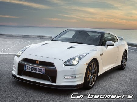 Кузовные размеры Nissan GT-R (R35) 2007-2018 Body Repair Manual
