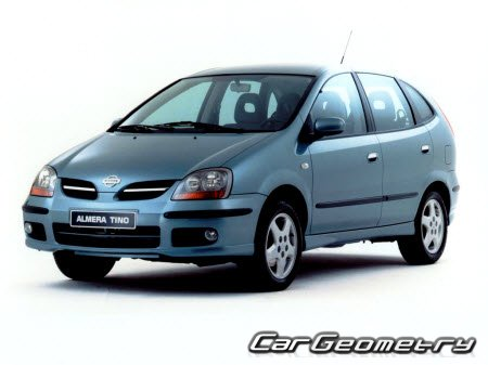 Размеры кузова Nissan Almera Tino (V10) 2000–2006 Body Repair Manual