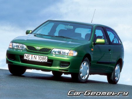 Кузовные размеры Nissan Almera (N15) 1995–2000 Body Repair Manual