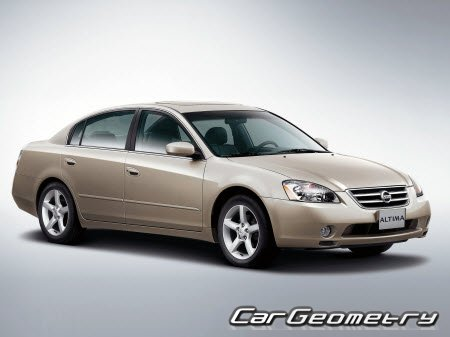 Размеры кузова Nissan Altima (L31) 2002-2006 Body Repair Manual