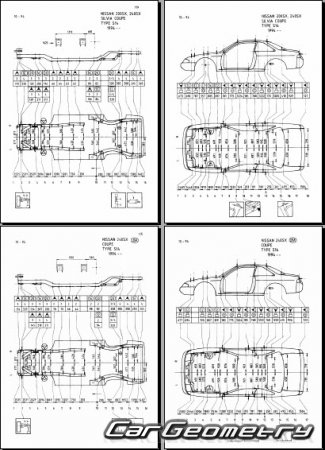 Кузовные размеры Nissan 200SX, 240SX, Silvia (S14) 1993-1998 Body Repair Manual