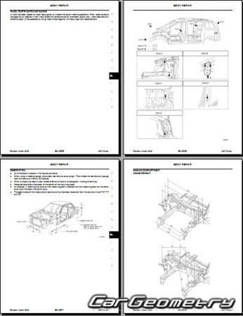 Кузовные размеры Nissan Quest (V42) 2004-2010 Body Repair Manual