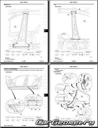 Размеры кузова Nissan Sentra (B16) 2007–2012 Body Repair Manual
