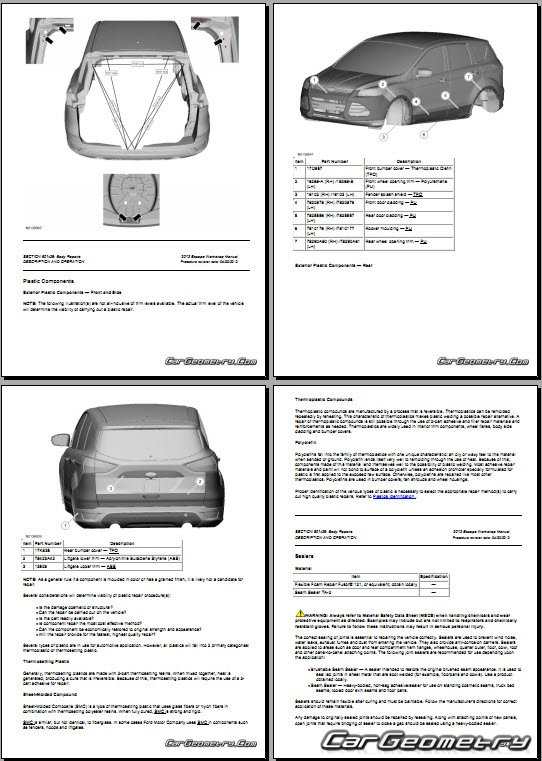 Кузовные размеры Ford Escape 2012 2016 Body Dimensions