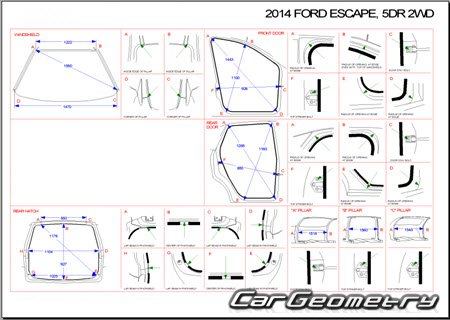 Ford Escape 2012-2019 Body dimensions