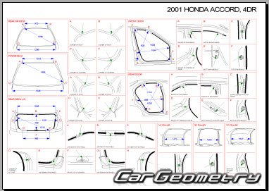 Honda Accord Euro 1998–2002 (Sedan) Body dimensions