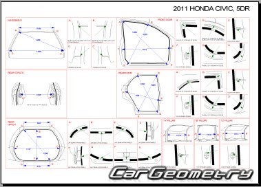 Honda Civic (FK) 5D 2006-2012 EURO Body dimensions