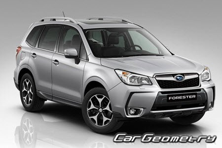 Размеры кузова Subaru Forester 2012-2016 Body Repair Manual