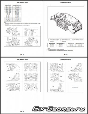 Кузовные размеры Subaru Tribeca (B9) 2006–2007 Body Repair Manual