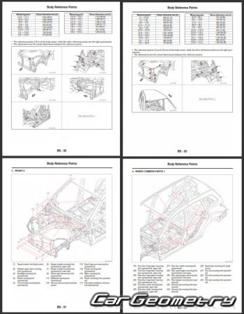 Размеры кузова Subaru Forester 2012-2017 Body Repair Manual