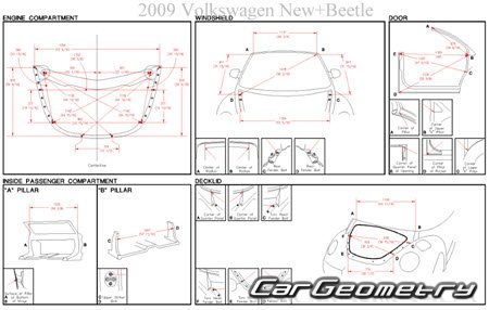 Volkswagen Beetle 1998–2011 (Coupe и Convertible) Body dimensions
