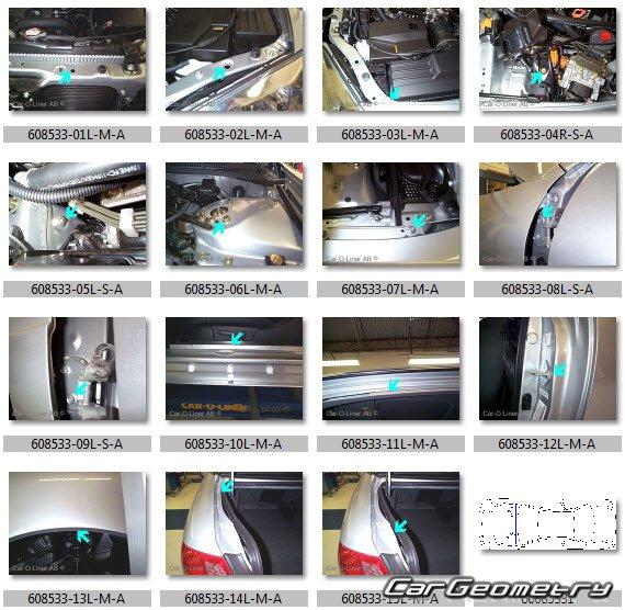 Кузовные размеры Acura 3.2 CL (YA4) 2001-2003 Body Repair