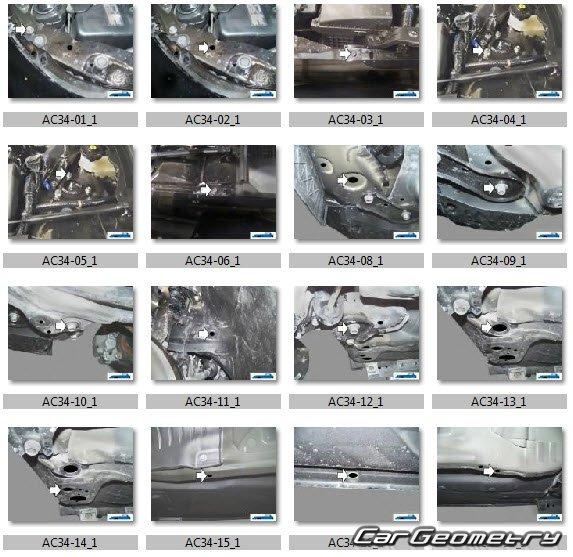 Контрольные размеры кузова Acura TL 2009–2013 Body Repair