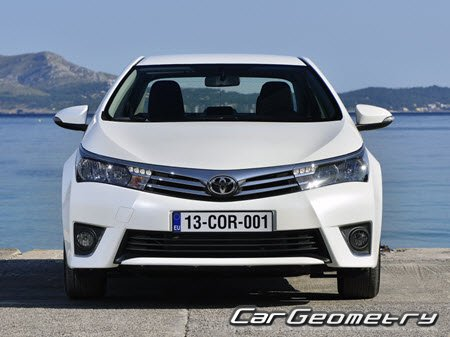 Кузовные размеры Toyota Corolla 2013-2018 (Sedan, Hatchback, Wagon)