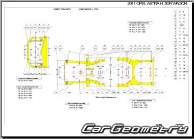 Кузовные размеры Opel Astra H (Sedan, Caravan) 2007-2012 Body Dimensions