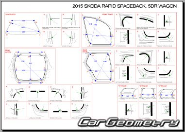 Геометрия кузова Skoda Rapid Spaceback 2013-2020