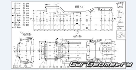 Размеры кузова Chevrolet AVEO (T200) 2003-2008 Body Repair Manual