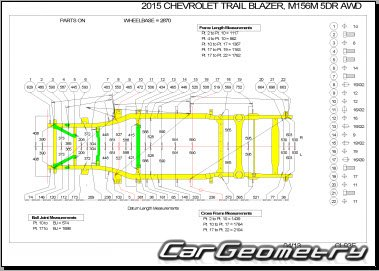Размеры кузова Шевроле Трейлблейзер 2012–2020 Body dimensions