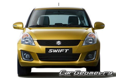Кузовные размеры Suzuki Swift 2010–2016 (3DR, 5DR Hatchback), Размеры кузова Сузуки Свифт с 2010