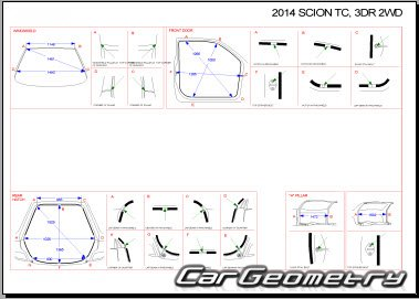 Геометрия кузова Scion tC (AGT20) 2011-2016 Collision Repair Manual