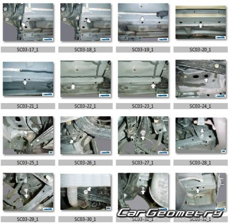 Размеры кузова Scion tC (ANT10) 2005–2010 Collision Repair Manual