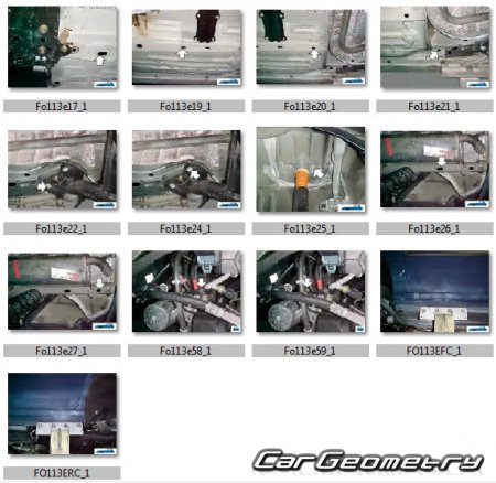 Размеры кузова Ford Fusion 2002–2012 Euro Body Repair Manual