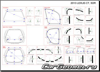 Размеры кузова Lexus CT200h 2011-2017 (ZWA10) Collision Repair Manual