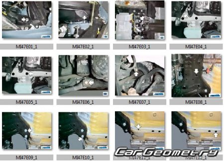 Размеры кузова Mitsubishi Colt (CZ3/CZT) 2008-2012 Body Repair Manual