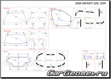 Размеры кузова Infiniti G35, Nissan Skyline (V35 Coupe) 2002-2007 Body Repair Manual