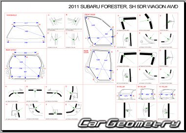Кузовные размеры Subaru Forester (SH) 2008-2012 Body Repair Manual
