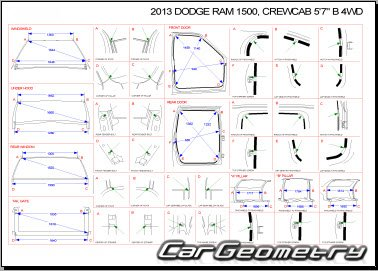 Dodge Ram 1500 Pickup 2009-2015 (Crew Cab 4WD) Body dimensions