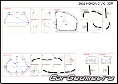 Размеры кузова Honda Civic 2002-2005 (Hatchback) Body Repair Manual